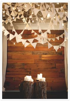 A mixture of fabric & book paper bunting.