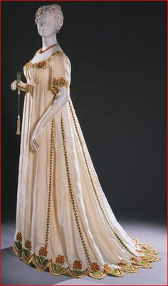 Ivory Silk Dress with Multicolored Embroidery, English, 1805-1810. (Expanded View)