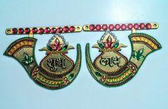 Shubh Labh Good Luck Gift for Housewarming by PalavCreations Kalash Decoration, Diwali Decoration Items, Thali Decoration Ideas, Diy Home Crafts, Creative Crafts, Handmade Crafts, Diwali Craft, Diwali Diy, Acrylic Rangoli