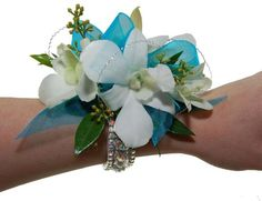 Teal w/ White Orchids Wrist Corsage on Irridescent Crystal Bracelet (CBCRW03)