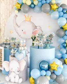 All Details You Need to Know About Home Decoration - Modern Baby Shower Decorations For Boys, Boy Baby Shower Themes, Baby Shower Balloons, Baby Decor, Baby Shower Cakes, Baby Boy Shower, Elephant Theme, Elephant Baby Showers, Baby Elephant