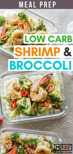 Garlic Shrimp and Broccoli Meal Prep - This healthy Chinese-takeout inspired dish combines high protein shrimp with broccoli and a approved sweet garlic sauce Paleo Meal Prep, Lunch Meal Prep, Easy Meal Prep, Easy Meals, Dinner Meal, Food Prep, Shrimp And Broccoli, Broccoli Recipes, Garlic Shrimp