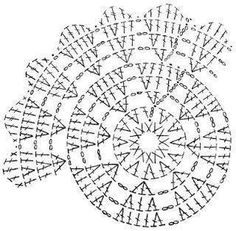 Crochet chart for the dahlia doily Mandala Crochet Patron, Crochet Mandala Pattern, Crochet Doily Patterns, Crochet Chart, Crochet Diagram, Crochet Squares, Thread Crochet, Crochet Granny, Crochet Stitches