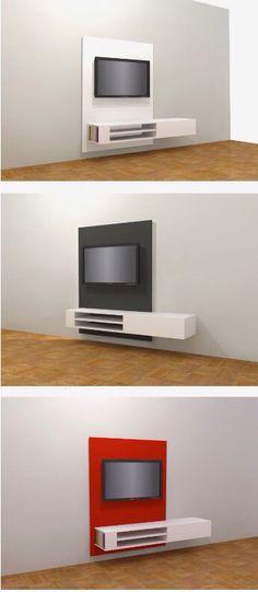 met handleiding om zelf een hangend / zwevend tv-meubel te maken ...