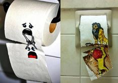 Funny pictures about Toilet paper art. Oh, and cool pics about Toilet paper art. Also, Toilet paper art. Toilet Paper Art, Toilet Paper Humor, Toilet Humour, Clean Funny Pictures, Funny Images, Funny Pranks, Funny Jokes, Hilarious, Funniest Pranks
