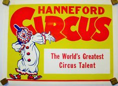 """Items similar to Vintage Circus Poster - Hanneford """"The World's Greatest Circus Talent"""" Circus Poster - Clown on Etsy Vintage Circus Posters, The World's Greatest, Vintage Items, Handmade Gifts, Etsy, Fictional Characters, Art, Craft Gifts, Hand Made Gifts"""