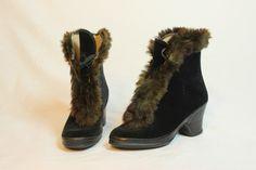 Vintage Fur Trimmed Galoshes / 1940s Rabbit Fur by VintageLDV