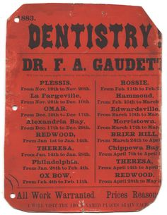 dr. frederic gaudett, traveling dentist advertising poster, jefferson county, ny, 1883