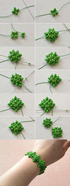green 2-hole beads bracelet, wanna it? LC.Pandahall.com #pandahall