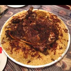 Traditional Kuwaiti rice with lamb.
