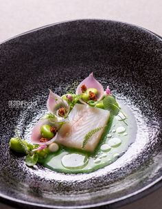 Pike perch pickled onions, wild garlic juice - Design Food by Antonio photography !