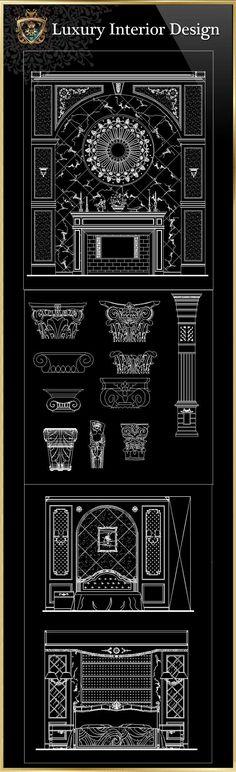 Luxury Interior Design CAD Blocks Luxus-Innenarchitektur CAD-Blöcke Image by 80 Days Restaurant Interior Architecture Drawing, Architecture Details, Neoclassical Architecture, Classic Interior, Luxury Interior Design, Interior Ideas, Bloc Autocad, Cad Blocks Free, 3d Modelle
