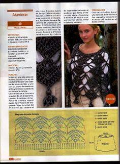 Puntos calados a crochet para ponchos - Imagui   Cosas para ...
