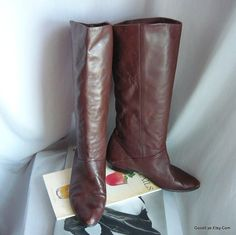 Vintage Leather SLOUCH Knee Boots / Size 6 .5 Wide Eu 37 UK 4 / NATURALIZERS Flat Pixie Pirate Cuff / made in Brazil Dark Brown by GoodEye on Etsy