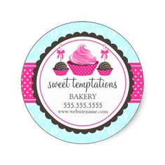 Cupcake and Cake Pops Bakery Stickers