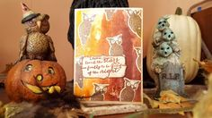 An ombre card in browns featuring several die cut and stamped owls handmade by Alison Heikkila. Imagine Crafts and Tsukineko Ink. Kaleidacolor – Cappuccino Delight, Ink Potion No. 9, Memento Ink – Rich Cocoa and Desert Sand, irRESISTable Spray – Gold