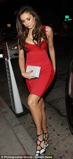 Beauty in blood red! The Vampire Diaries actress went with a sleeveless, cherry red dress ...
