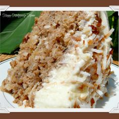 Hawaiian wedding cake with pineapple, hints of cinnamon and nutmeg with cream cheese frosting.