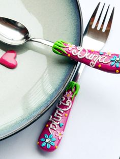 Magneta Pink Girl Cutlery Set Floral Customized Spoon and Fork Children or Adult Size Colorful for Girl Present Polymer clay Silverware Set