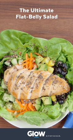This is the ultimate salad for a slimmer waistline: Prevent the bloat with cucumbers, grilled chicken, berries, and a homemade chia dressing. This salad is easy, delicious, and great for a quick lunch or dinner.