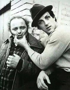 Burt Young and Sylvester Stallone on the set of Rocky.