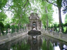 The Medici Fountain in the Jardin du Luxembourg, Paris, France, was built in about 1630 by Marie de' Medici, the widow of King Henry IV of France and regent of King Louis XIII of France. It was moved to its present location and extensively rebuilt in What A Wonderful World, Wonderful Places, Beautiful Places, Week End Romantique, Paris Landmarks, Luxembourg Gardens, Destinations, Famous Places, Parcs