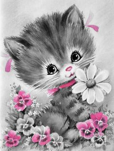 This Kitten illustration is a unique illustration by CSA Images. View our online stock illustration collection! Vintage Pictures, Vintage Images, Cute Pictures, Illustration Mignonne, Cute Illustration, Vintage Greeting Cards, Vintage Postcards, Art Mignon, Cat Cards