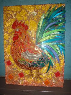 Grouted in terricotta and black (tail area). l love my Rooster, reminds me of the one that used to chase me as a child! Tile Art, Mosaic Art, Mosaic Glass, Tile Mosaics, Mosaic Animals, Mosaic Birds, Mosaic Crafts, Mosaic Projects, Mosaic Designs