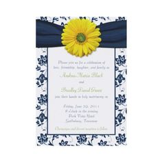DIY daisy wedding themed invitation via Zazzle.