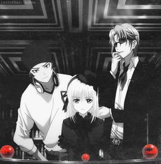 K Project - Kusanagi, Yata, Anna - Oh look, it's three of my favorite characters watching a bunch of marbles. You go, Anna! Find Totsuka's killer!