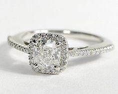 Diamond Wedding Rings : Cushion Cut Halo Diamond Engagement Ring in Platinum #BlueNile