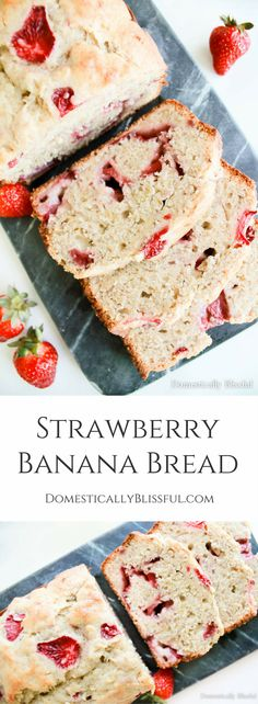 This Strawberry Banana Bread is addicting & bursting with fresh flavor! Strawberry Banana Bread is a pink twist with fresh sweet flavor on a classic recipe. | baking | bread | strawberry season | strawberry recipes | strawberries | breakfast | brunch | wedding shower food | baby shower food | tea party food | unique recipe |