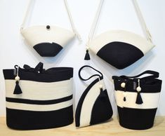 Black and white bags from Mia Mélange Black And White Bags, Cotton Rope, Bucket Bag, Exercise, Boutique, Collection, Design, Fashion, Ejercicio