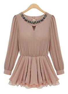 Nude Long Sleeve Rhinestone Pleated Chiffon Top