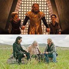 Odin with his sons: Thor and Loki - Marvel (awww) Thor X Loki, Marvel Actors, Marvel Avengers, The Avengers, Thor Ragnarok Costume, Thor Costume, Steve Rogers, Thor 2011, 1 Gif
