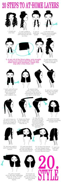 at-home hair cutting, layered