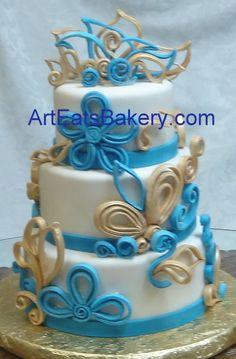 December round fondant wedding cake designs by Art Eats bakery