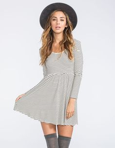 FULL TILT Stripe Skater Dress #longsleeve #dress #stripes