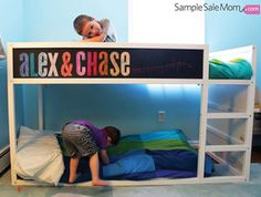 "These creative IKEA hacks, featuring the toddler-friendly and amazingly versatile ""KURA,"" will have you wishing you were a kid again!: Chalk Board Bed"