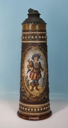 Mettlach 53 cm Villeroy & Boch Prunk Bierkrug Bierkanne Herold geritztes Dekor