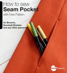 Free Seam Pocket sewing pattern and TutorialHere is a free pattern with step by step photo instruction for a seam pocket with facing! It's perfect size for the Brownie Dress and the Snowball Dress from Waffle Patterns, but It's also very versatile,...