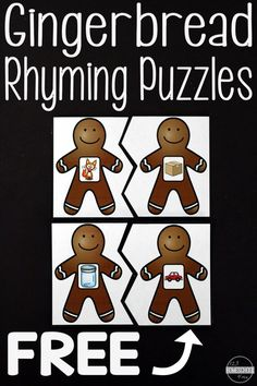 FREE Gingerbread Rhyming Activities - these puzzles are so cute! A fun way to work on rhymes this holiday season with preschool and kindergarten kids this holiday season! Kindergarten Centers, Preschool Literacy, Kindergarten Reading, Kindergarten Crafts, Winter Preschool Activities, Preschool Rules, Preschool Crafts, Gingerbread Man Activities, Holiday Activities