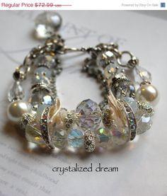 chunky charm bracelet wedding bracelet bold charm by molliecarey, $58.39