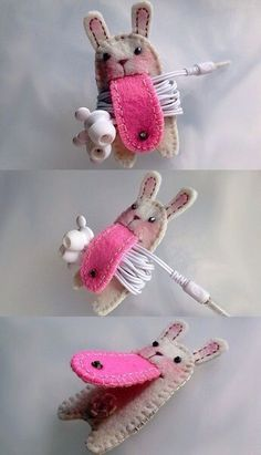 Super cool and cute bunny  phone, tablet, iPad charger holder DIY felt