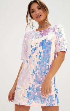 Pink Sequin T Shirt DressGirl give your look some attitude with this party ready t shirt dress. Sequin T Shirt Dress, Sequin Outfit, Tee Dress, Holographic Dress, Holographic Fashion, Sequin Rose, Pink Sequin, Girls Fashion Clothes, Fashion Dresses