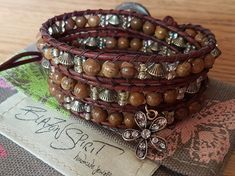 Beaded Leather Wrap Bracelet Boho Wrist Wrap by BlazonSpirit Bohemian Bracelets, Beaded Bracelets, Beaded Leather Wraps, Spirit, Boho, Handmade, Stuff To Buy, Etsy, Vintage