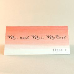 Eve Suite  'Coral Ombre' Escort / Place Card by JPstationery