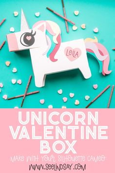 Create the cutest Unicorn Valentine Box using your electronic cutting machine and then adorn with glitter adhesive vinyl. Such a fun and easy project. Homemade Valentine Boxes, Valentine Crafts, Silhouette Online Store, Silhouette Cameo, Silhouette Studio, Unicorn Ears, Cute Unicorn, Unicorn Valentine, Quick And Easy Crafts