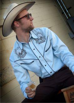 Men's embroidered western skull shirt