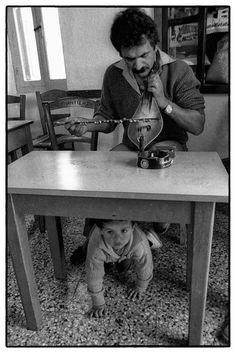 Island of Karpathos. Village of Olympos. The feast of Easter Day. Local postman and musician, Életképek :) Mihalis with his son, playing in a café. Magnum Photos, Greece Islands, Storytelling, Old Things, Memories, Karpathos Greece, Easter, Crete, Photography